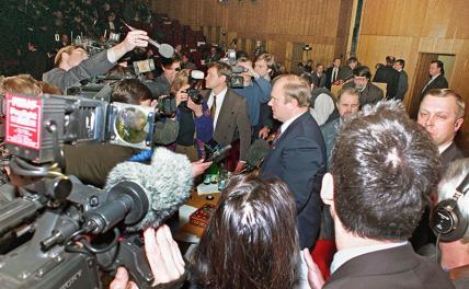На фото: лидер Компартии РФ Геннадий Зюганов выдвинут кандидатом на президентских выборах Всероссийской конференцией КПРФ в Москве, 1996 год.